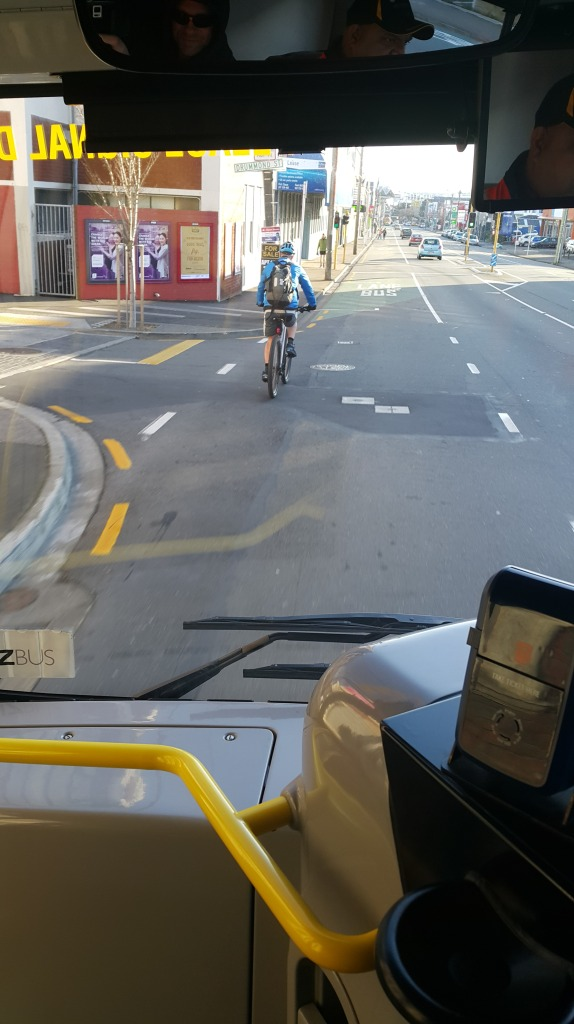 A cyclist in this position requires the bus to switch in to the other lane to over take. If the other lane is full of cars, the bus has to slow down and drive slowly behind the cyclist.